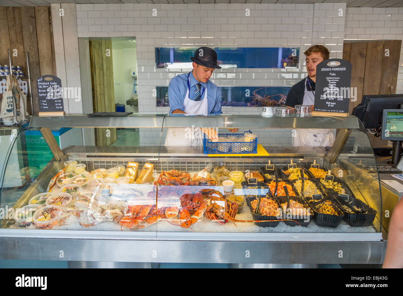 A Panoramic Interior view of Stein's Fisheries Padstow Cornwall - Stock Image