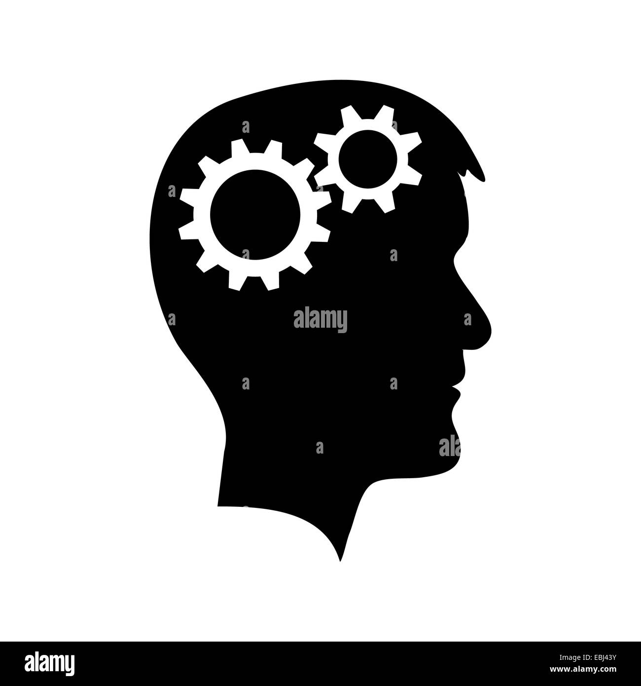 Man head with gear wheel - Stock Image