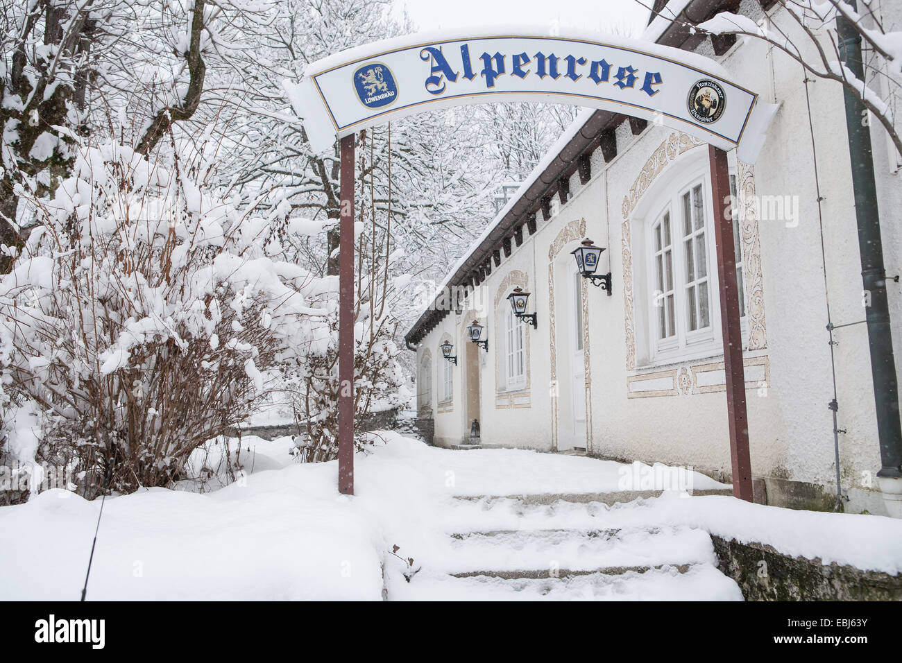 Wintry streets of Bayrischzell in Bavarian Alps, Germany - Stock Image