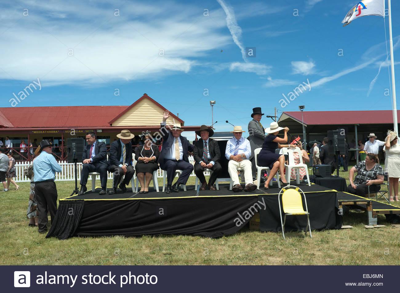 Dignitaries, including Governor-General of Australia Sir Peter John Cosgrove waving, at Adaminaby Races, NSW, Australia - Stock Image