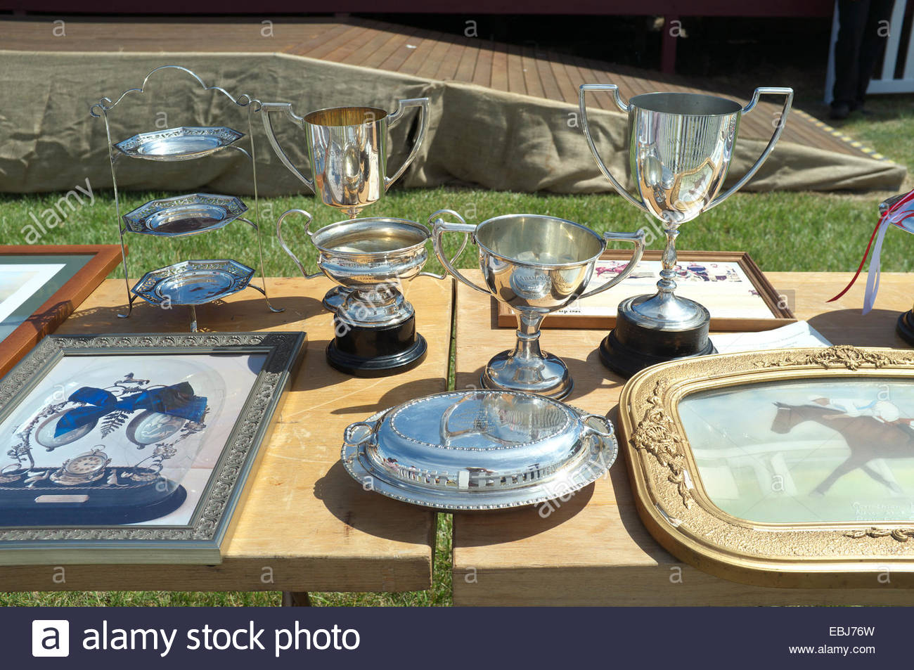Trophy silverware at the Adaminaby Races (horse racing), Snowy Mountains, NSW, Australia. - Stock Image