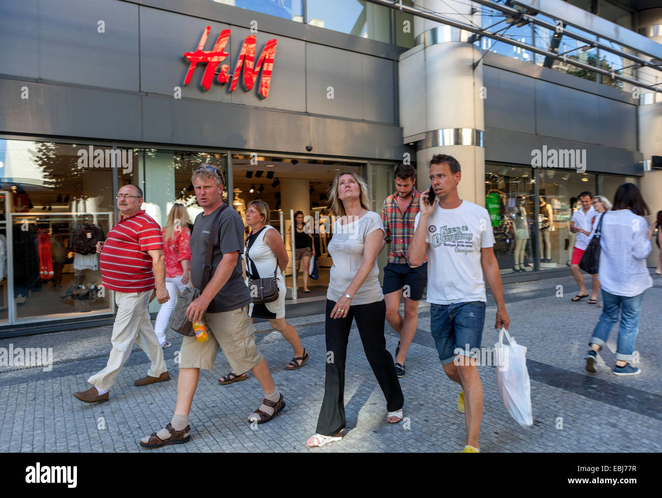 Prague shopping, H&M store in Na Prikope street, tourists, Prague Czech Republic Europe - Stock Image