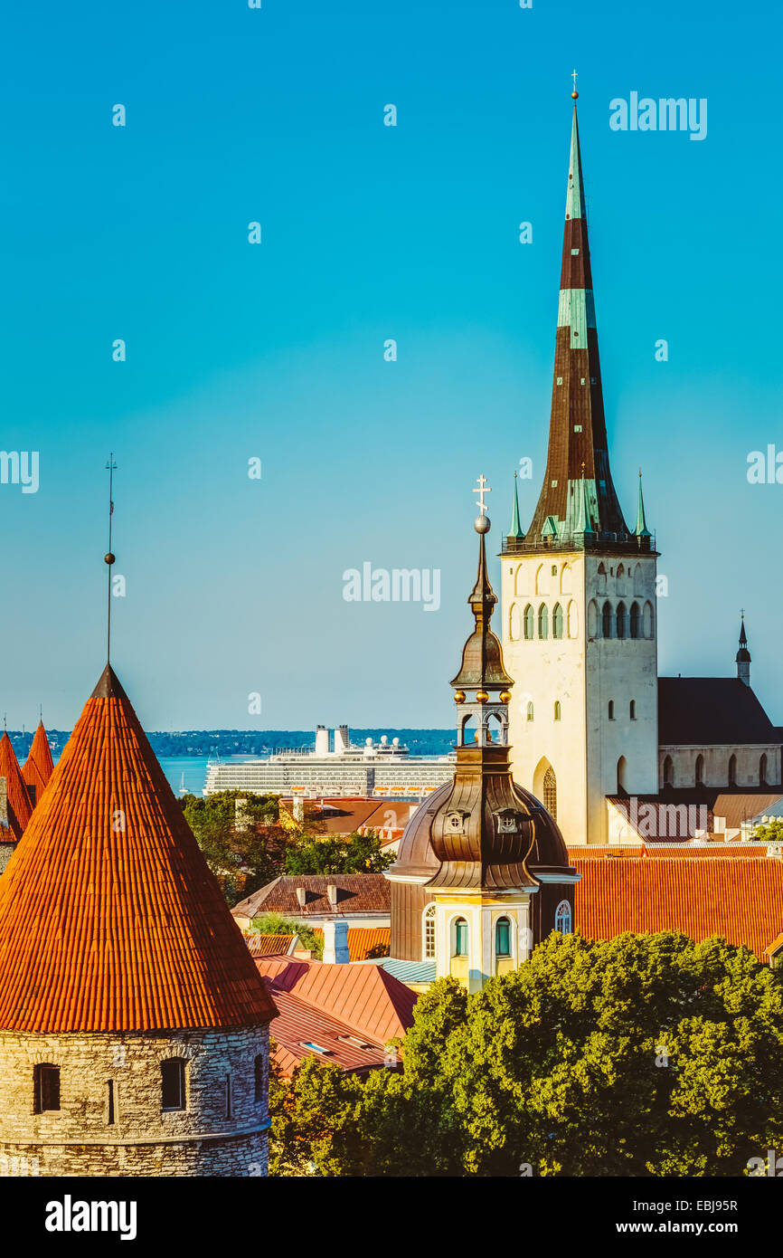 Scenic View Landscape Old City Town Tallinn In Estonia - Stock Image