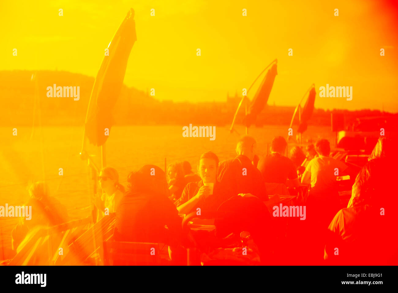 Vltava river, embankment, people, relax, drinking, entertainment, Stock Photo