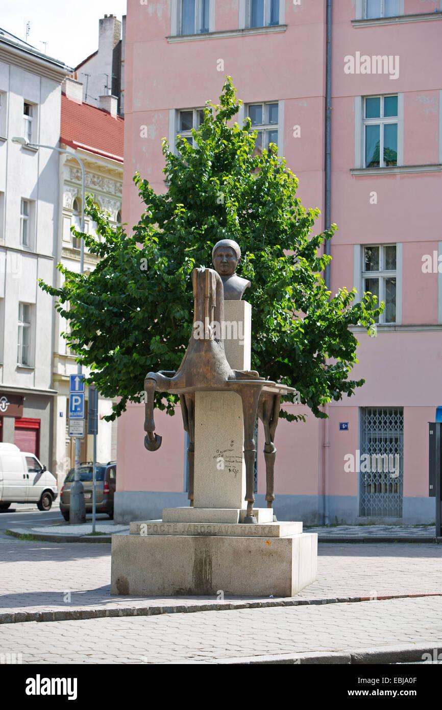 Prague, Jaroslav Hasek, writer, author, statue Stock Photo