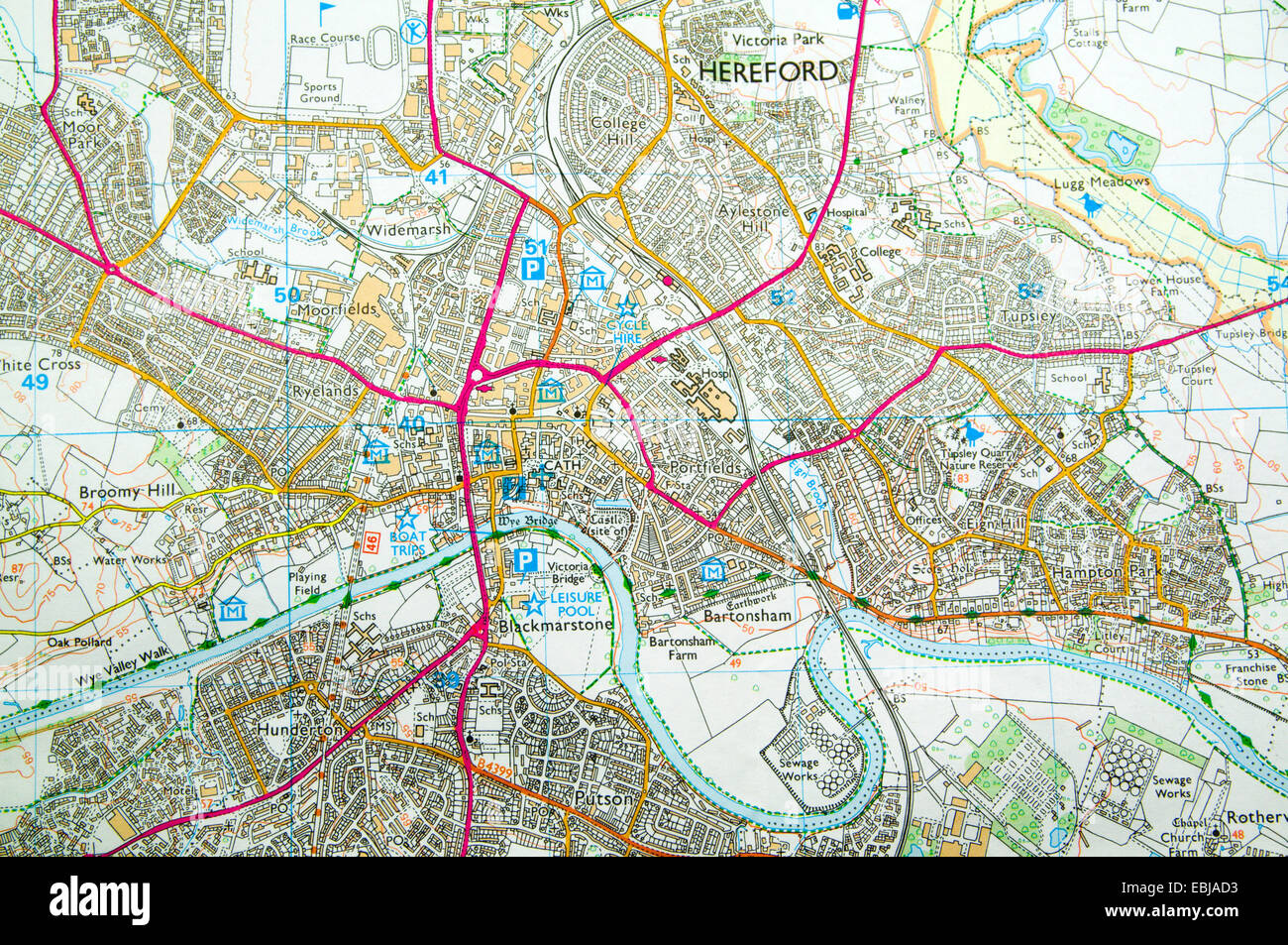 Map Of Hereford Ordnance Survey Map of Hereford, England Stock Photo: 76006031   Alamy