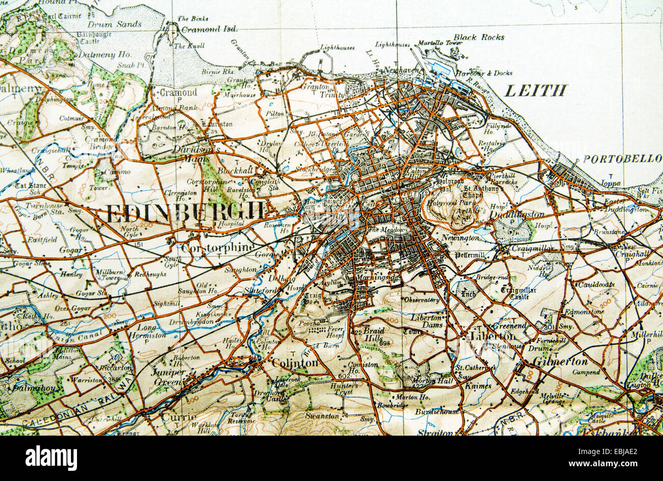 Historic Ordnance Survey Map of Edinburgh Scotland Stock Photo