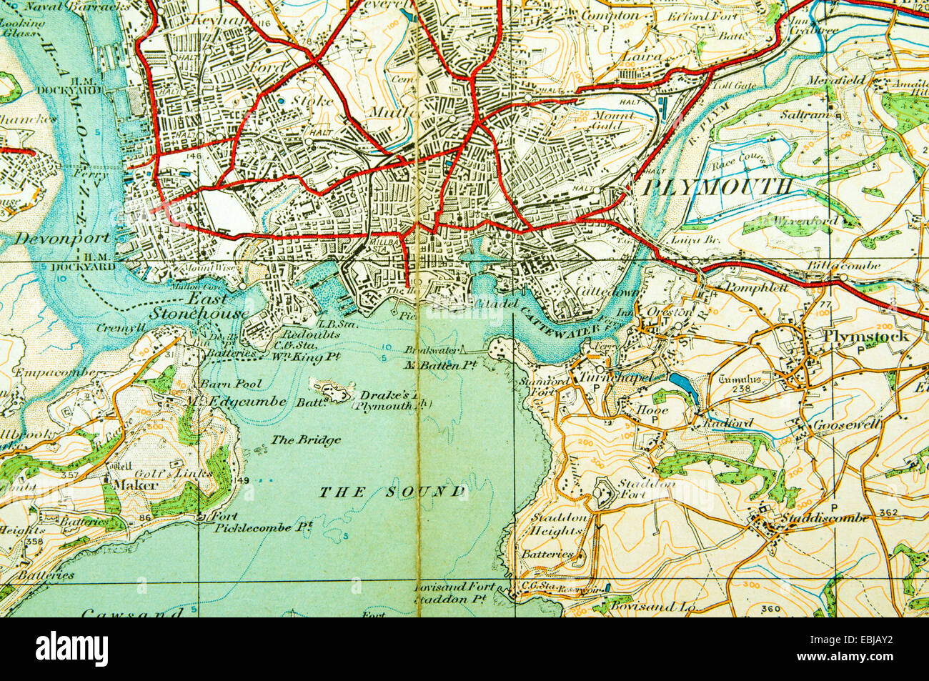 Historic Ordnance Survey Map Of Plymouth England Stock Photo