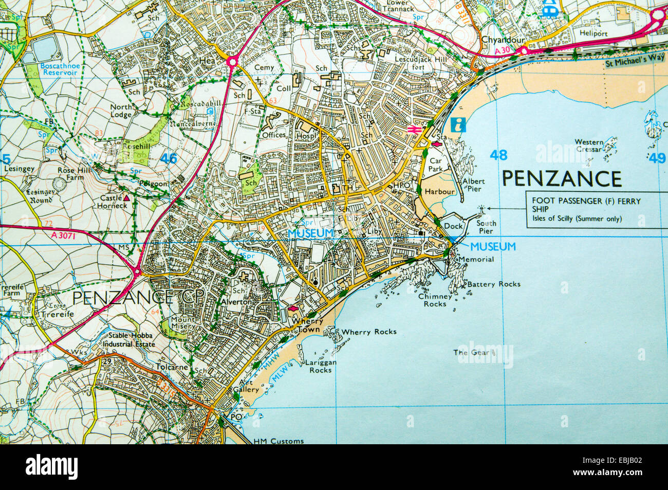 Map Of Penzance Ordnance Survey Map of Penzance, Cornwall, England Stock Photo