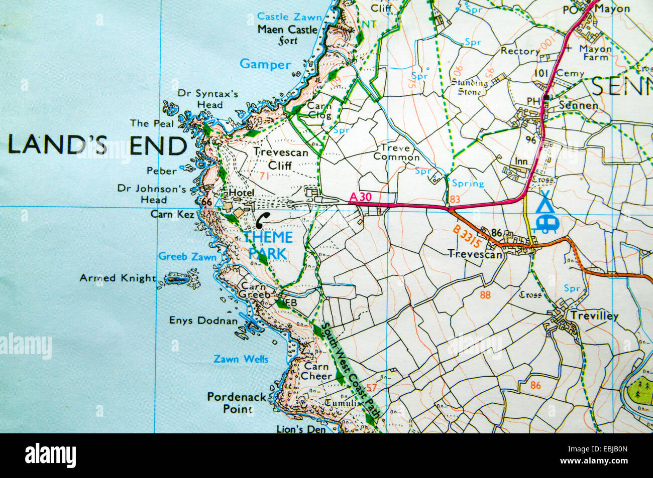 Lands End England Map.Ordnance Survey Map Of Lands End Cornwall England Stock Photo