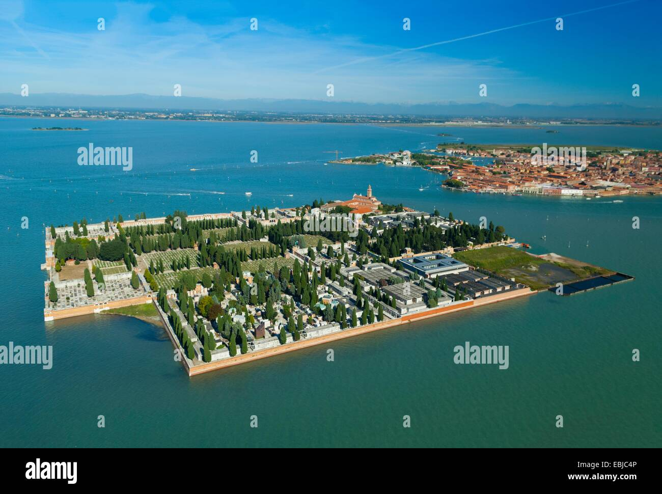 Aerial view of isola San Michele island, Venice lagoon, Italy, Europe Stock Photo