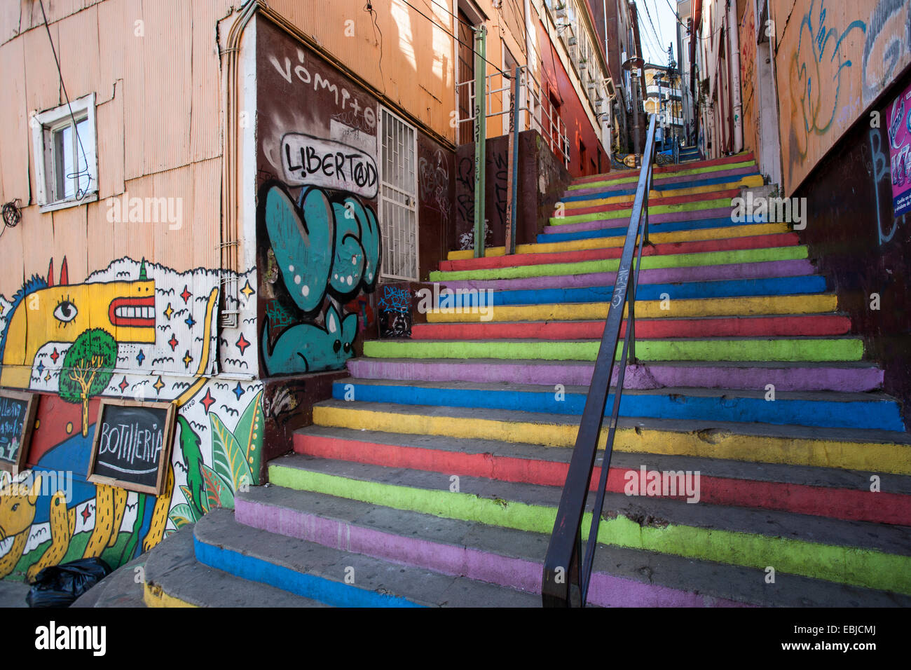 Painted stairs and graffitis. Valparaiso. Chile - Stock Image