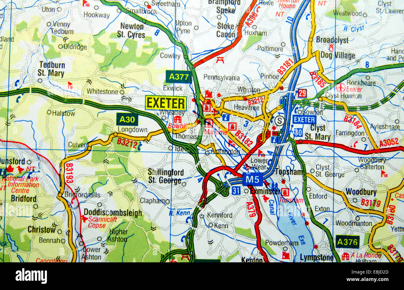 Road Map of Exeter Devon England Stock Photo 76008085 Alamy