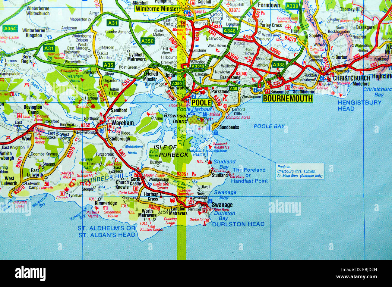 Poole England Map.Road Map Of Poole Poole Harbour And Bournemouth England Stock Photo