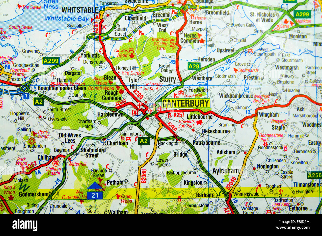 Road Map of Canterbury kent England Stock Photo 76008092 Alamy