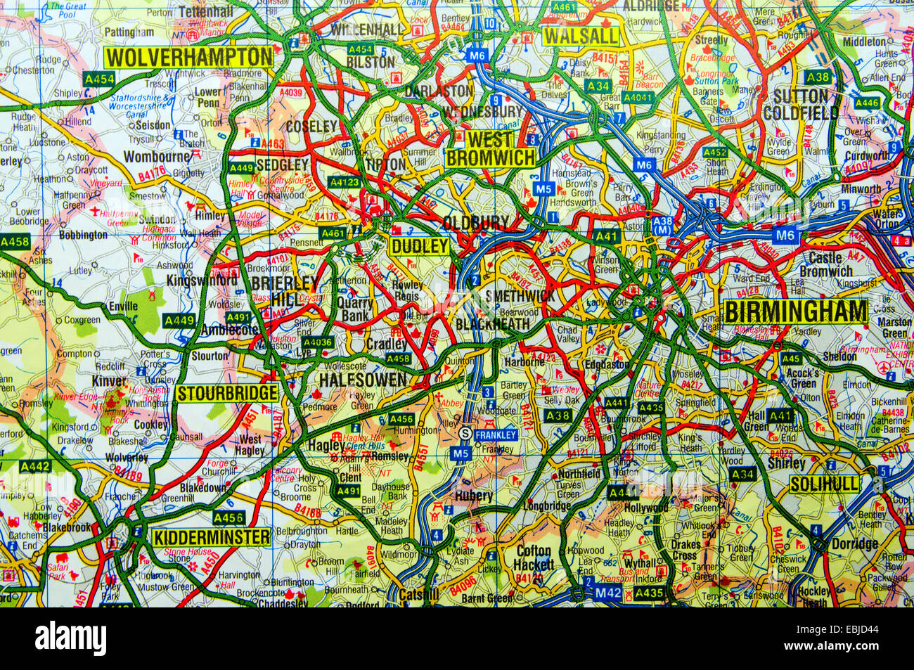 Map Of England Birmingham.Road Map Of Birmingham England Stock Photo 76008132 Alamy