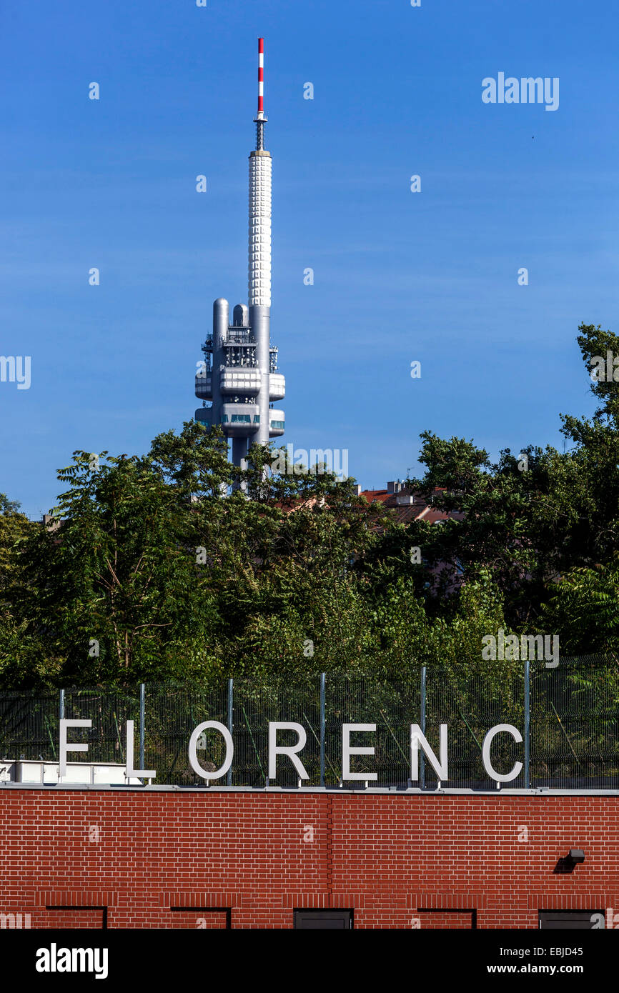 Zizkov Television Tower,View from Florenc bus station over the hill Vitkov Prague Czech Republic Stock Photo