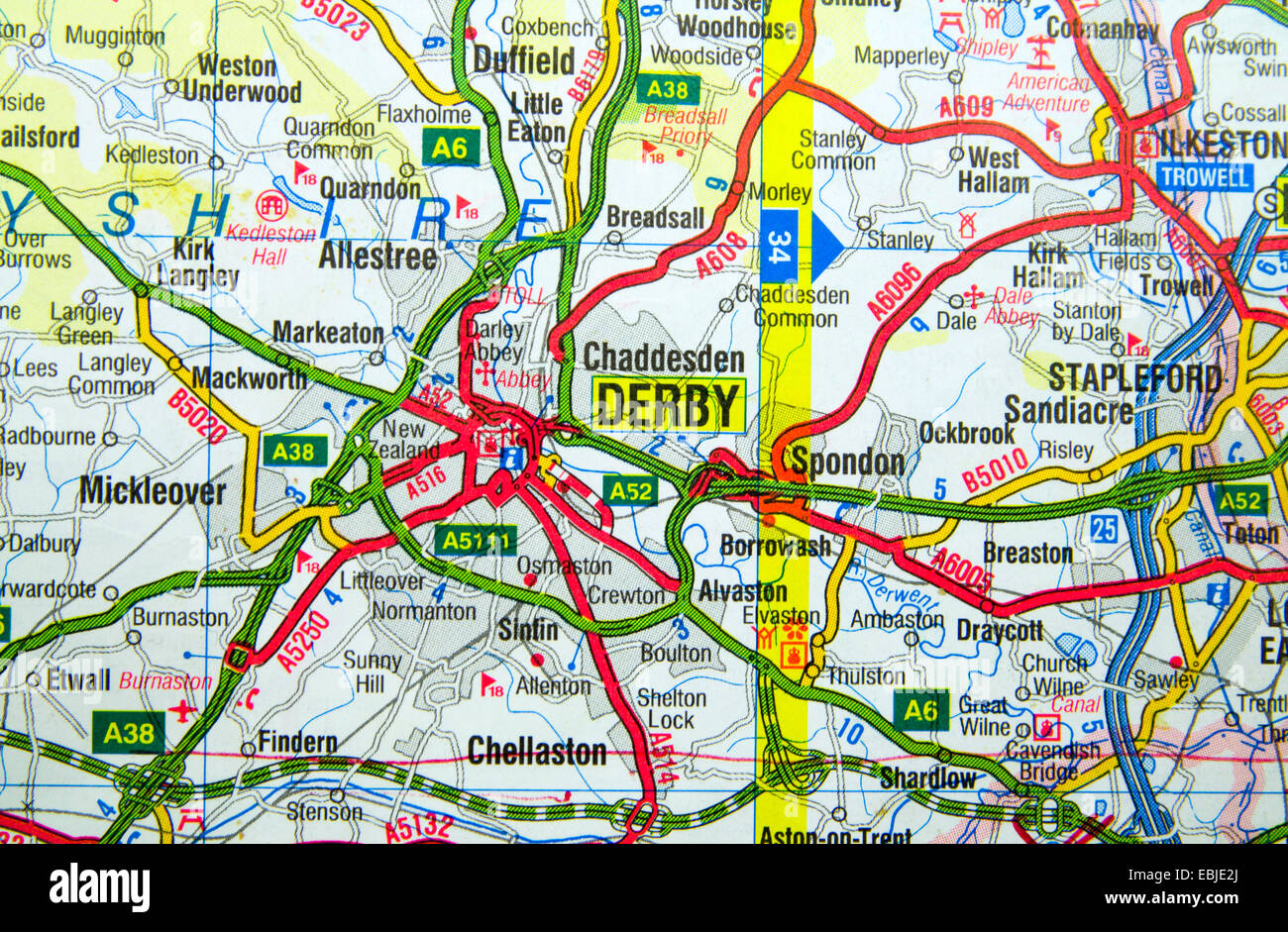 Road Map of Derby, England Stock Photo: 76008874 - Alamy