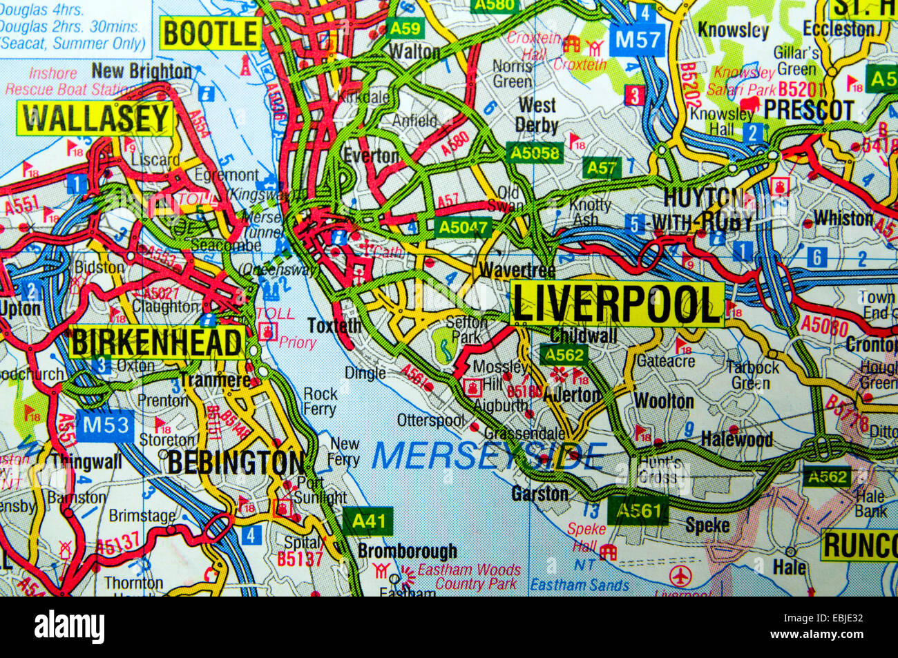 Road Map of Liverpool, England Stock Photo: 76008886 - Alamy