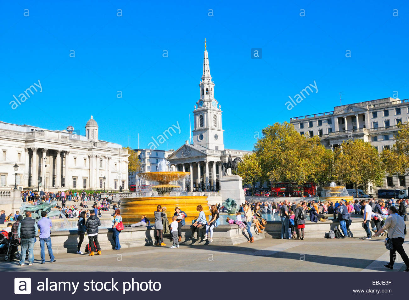 Trafalgar Square and St Martin-in-the-Fields church, London, England, UK - Stock Image