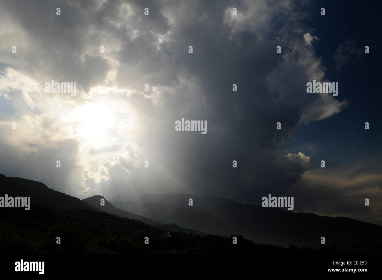 storm clouds over Mount Olympus - the gods are angry, Greece, Macedonia, Olymp - Stock Image
