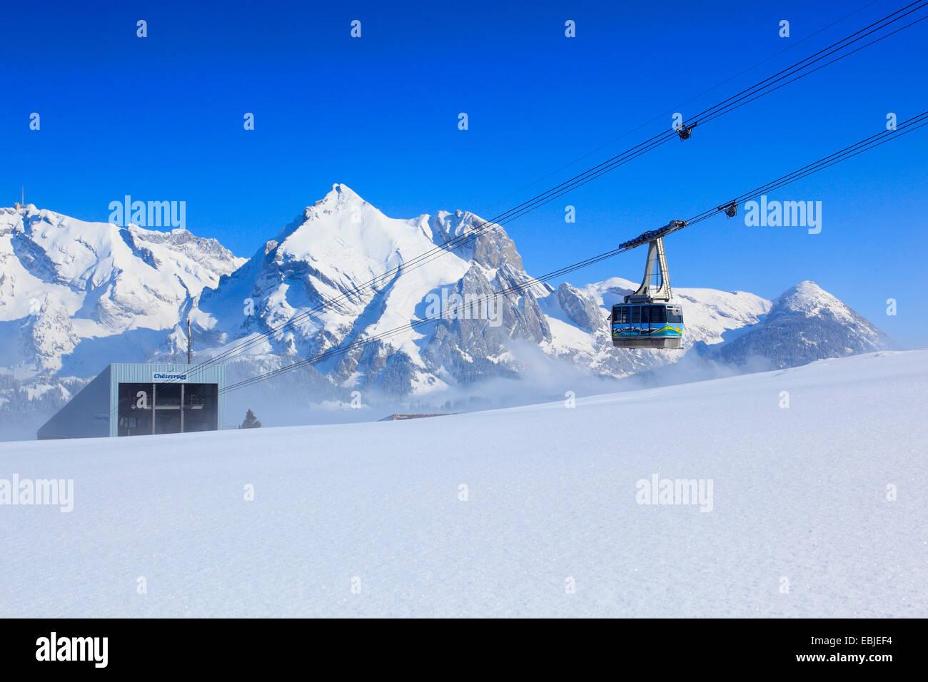 Iltios�Chaeserrugg cableway in winter, Switzerland, Appenzell, Toggenburg - Stock Image