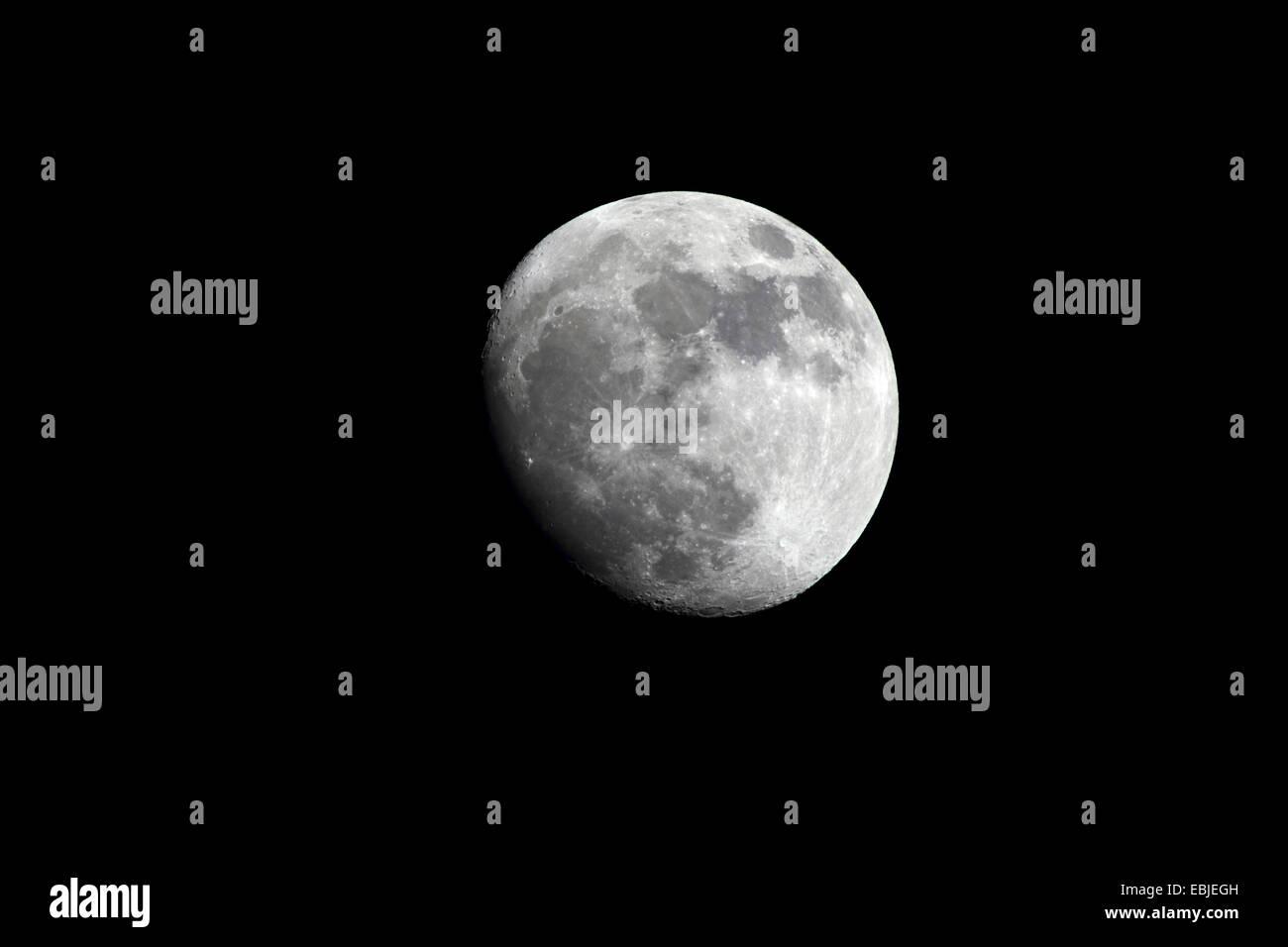 waxing gibbous moon, Germany, Baden-Wuerttemberg - Stock Image