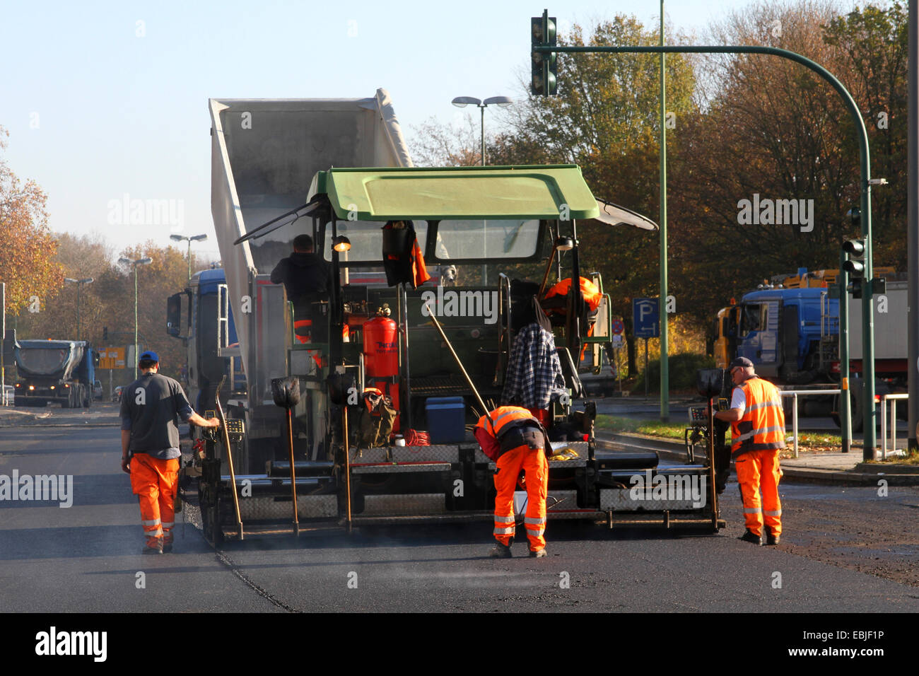 road being asphalted, Germany, NRW, Ruhr Area, Essen - Stock Image