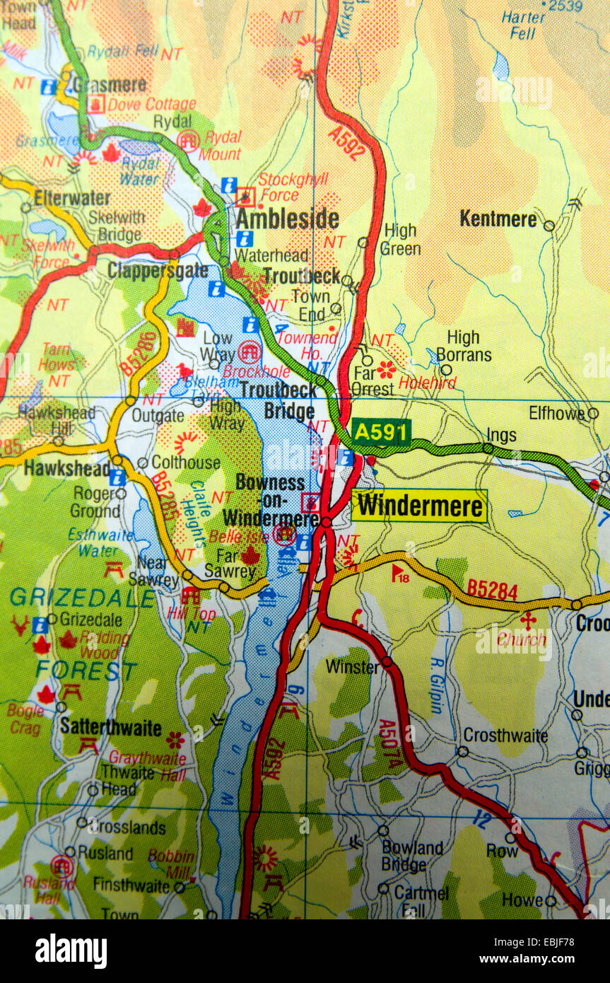 Map Of England Lake District.Road Map Of Windermere And The Lake District Cumbria England Stock