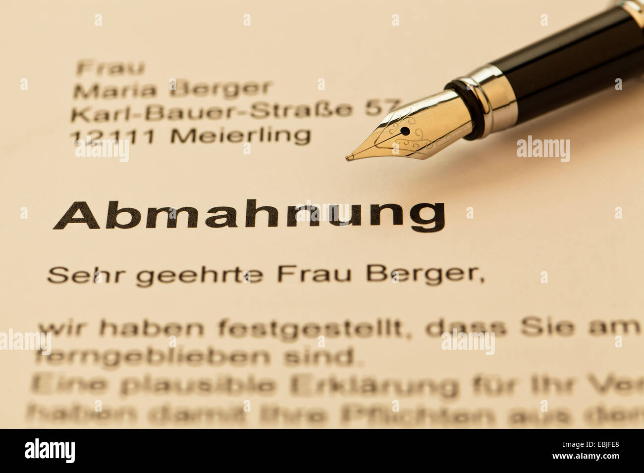 law adhortatory letter to the employee of a company - Stock Image