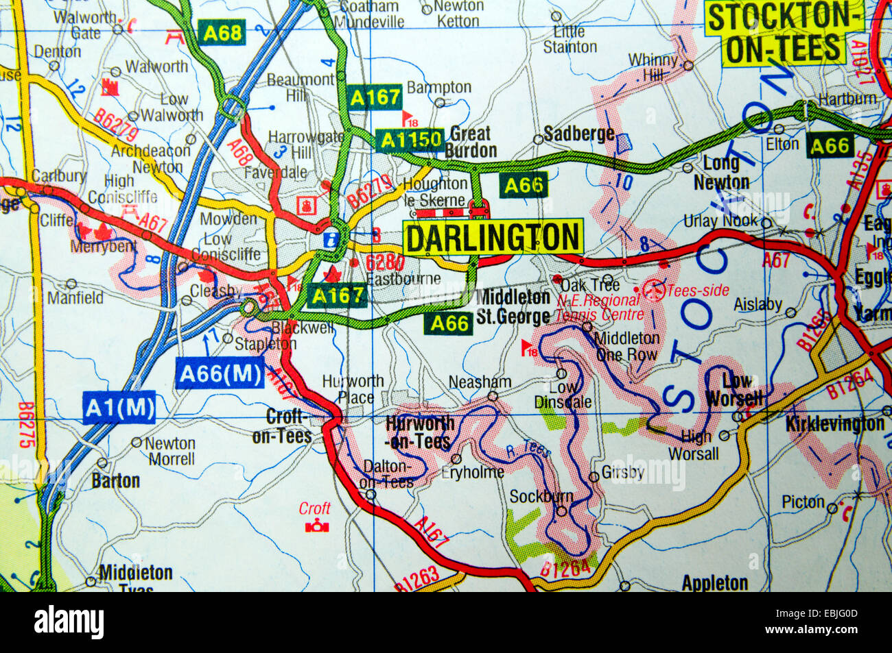 Road Map of Darlington Northern England Stock Photo: 76010381   Alamy