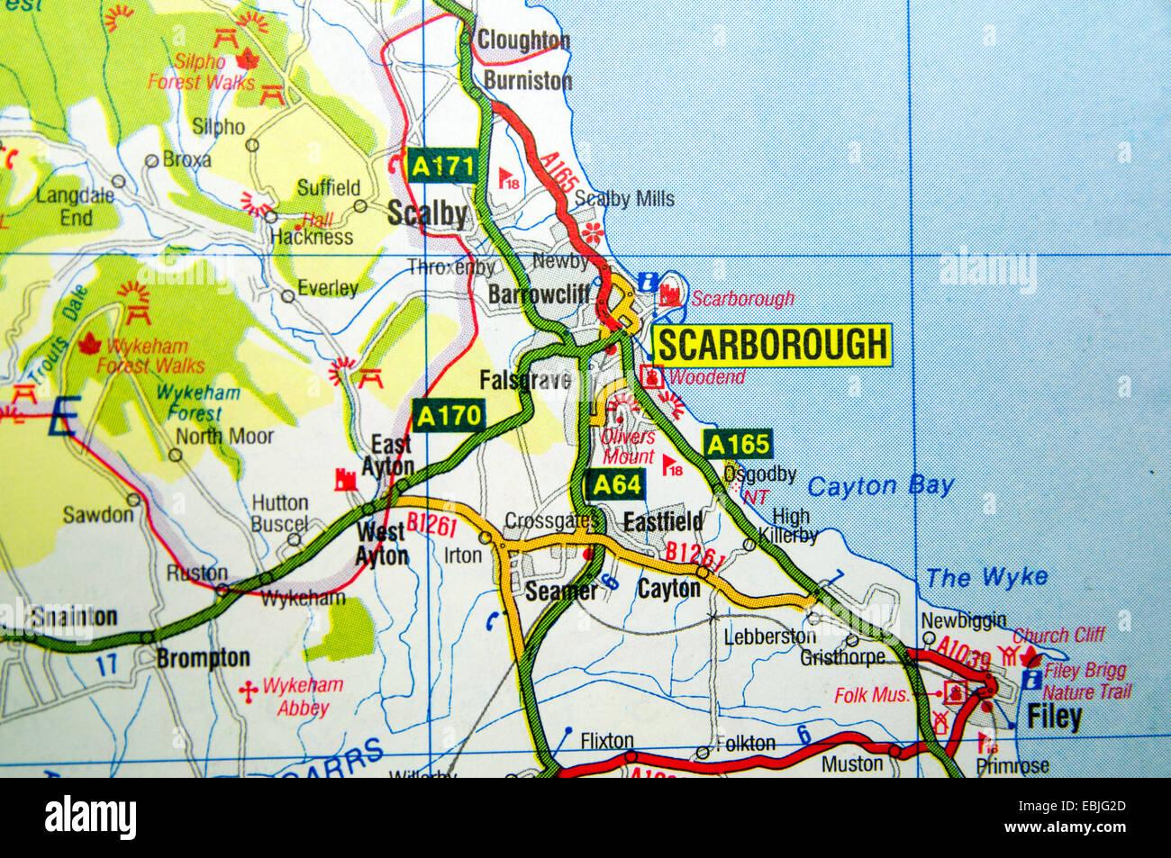 Road Map of Scarborough, England Stock Photo: 76010437   Alamy