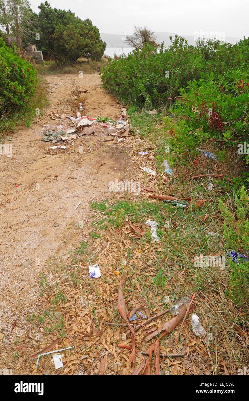 dirty beach of Divari, Greece, Peloponnese, Messinien, Messinia, Natura 2000, Pylos - Stock Image
