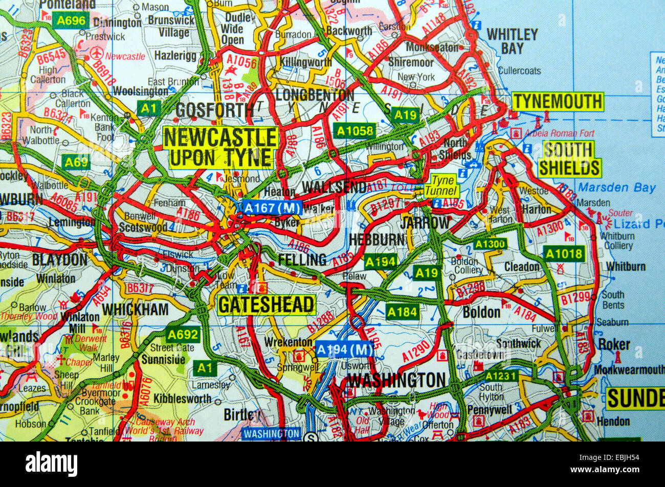 Map East Of England.Road Map Of Tyneside North East England Stock Photo 76011296 Alamy