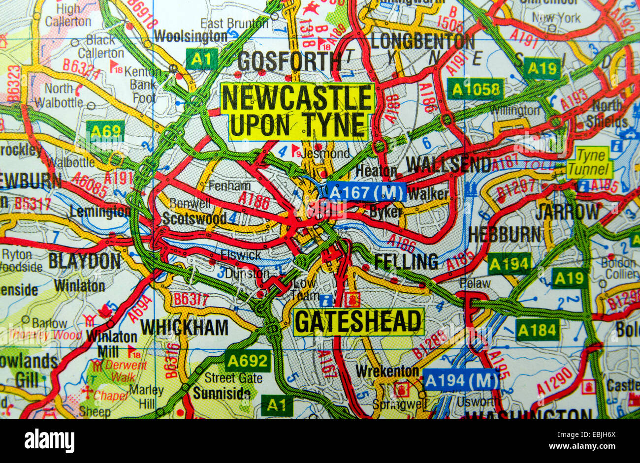 Map Of Newcastle Upon Tyne Road Map of Newcastle Upon Tyne, England Stock Photo: 76011346   Alamy