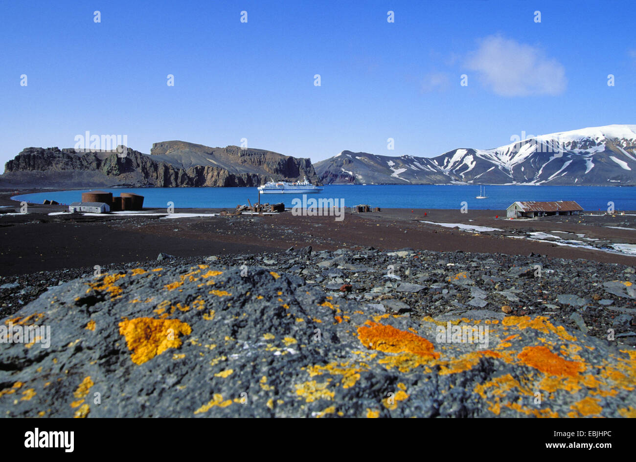 crater lake of Deception Island, Antarctica, Shetland Islands - Stock Image