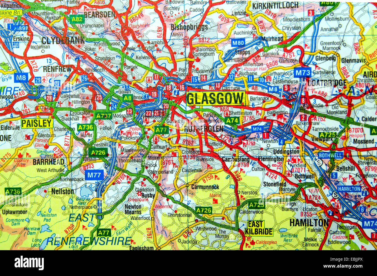Map Of Glasgow Scotland Road Map of Glasgow, Scotland Stock Photo: 76012578   Alamy