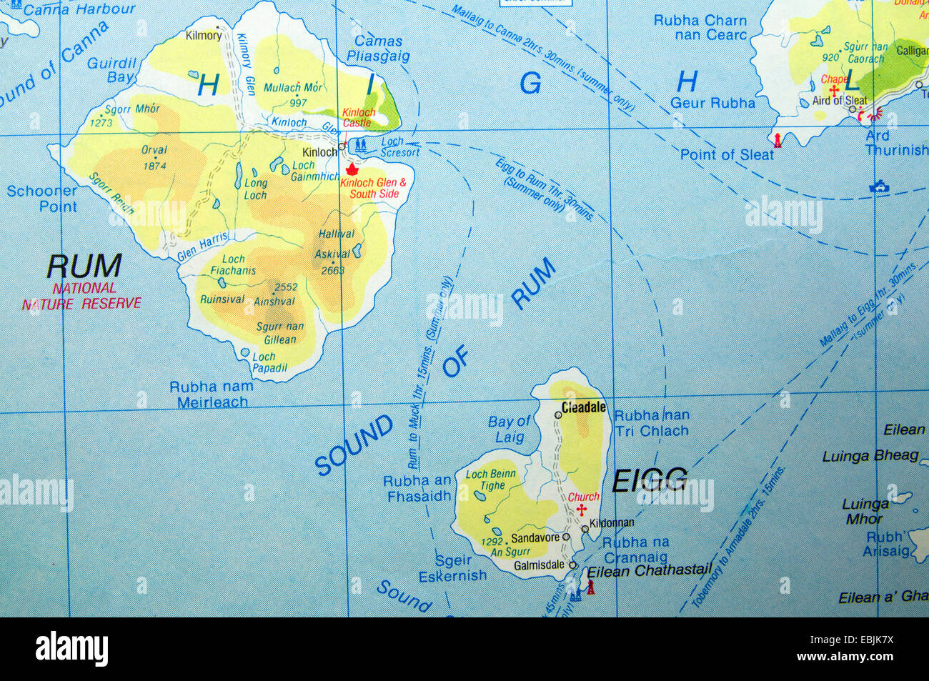 Road Map Of Rum And Eigg Island Scotland Stock Photo 76012942 Alamy