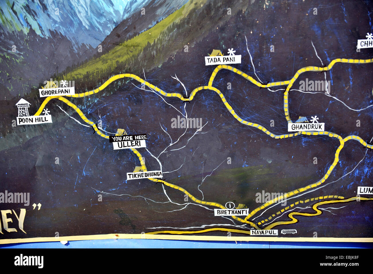 map of hiking trails at the foot of the Annapurna massif, Nepal - Stock Image