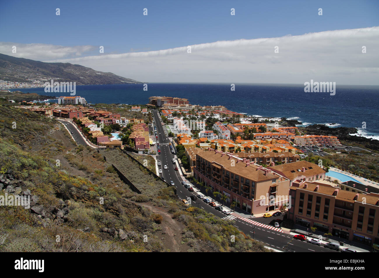view onto the tourist location and the sea, Canary Islands, La Palma, Los Cancajos - Stock Image