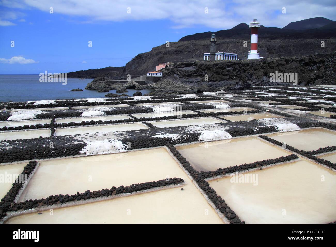 saline and lighthouse, Canary Islands, La Palma, Punta de Fuencaliente - Stock Image