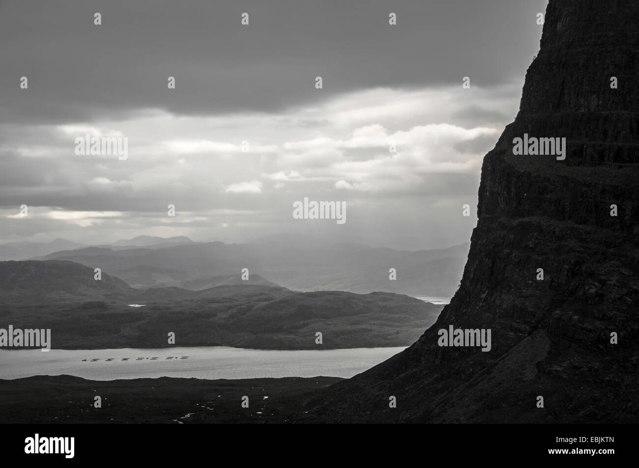 Steep Scottish cliff and scenery in mists, United Kingdom, Scotland, Argyll, Wester Ross Region - Stock Image