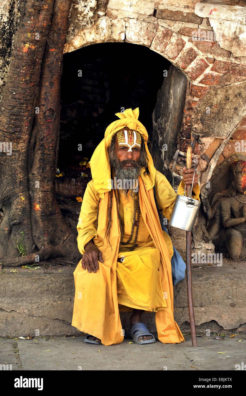Hindu Sadhus (man living a strictly religious life) at Durbar Square, Nepal, Kathmandu - Stock Image