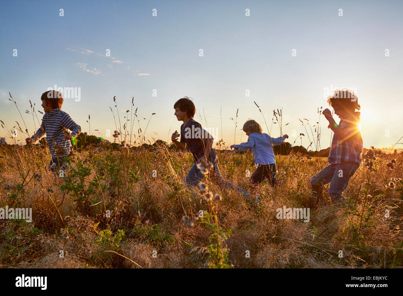 Family out walking in the park - Stock Image