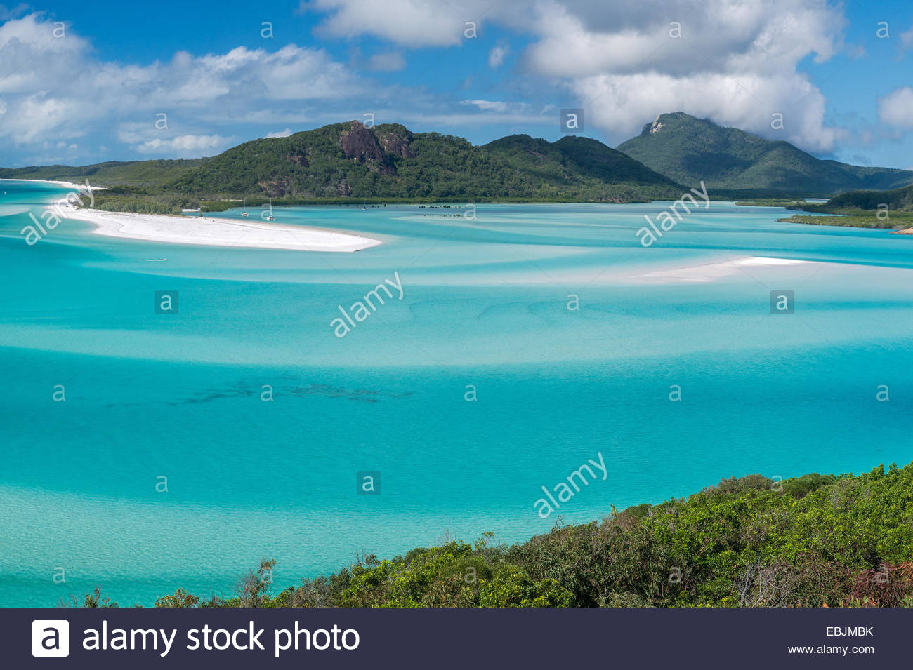 Whitehaven beach from Hill Inlet lookout on Whitsunday Island - Whitsubdays - Queensland - Australia - Stock Image