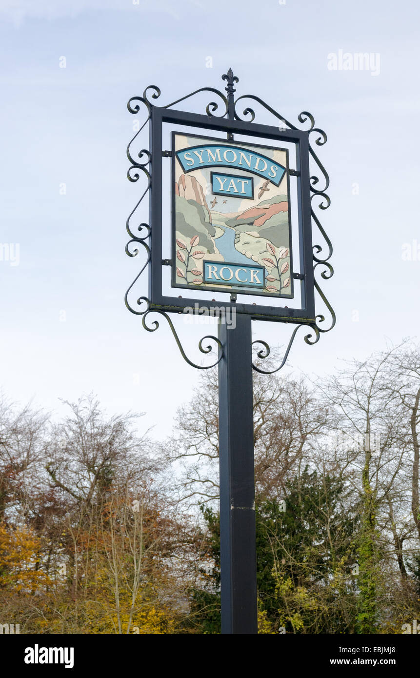 Traditional sign for Symonds Yat Rock on Gloucestershire - Stock Image