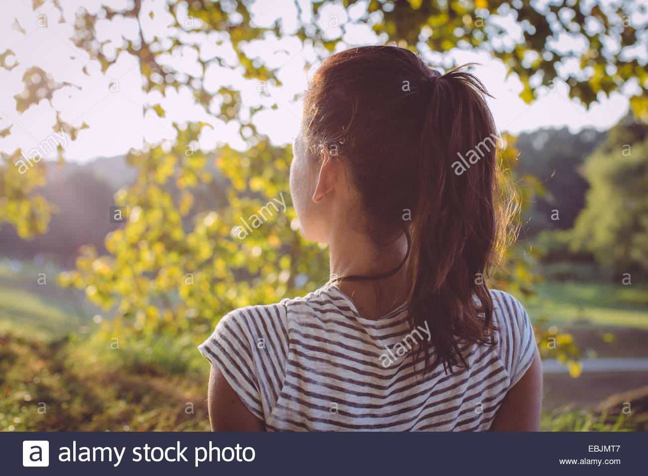 Rear view of mid adult woman looking at landscape view, Tuscany, Italy - Stock Image