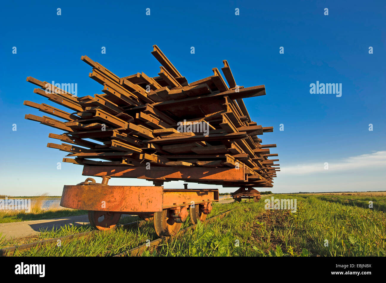 waggon loaded with rails for building the track for the moor railway in the Goldenstedter Moor, Germany, Lower Saxony, - Stock Image