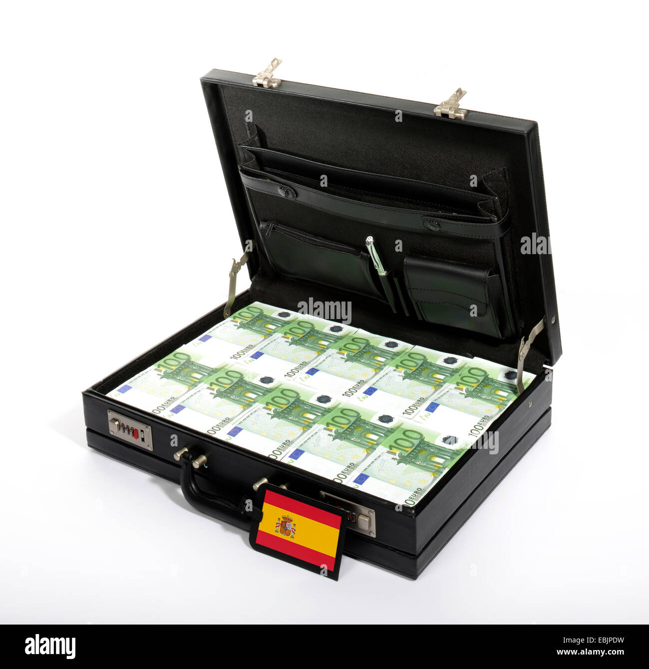case with Euros, injection of capital for Spain Stock Photo