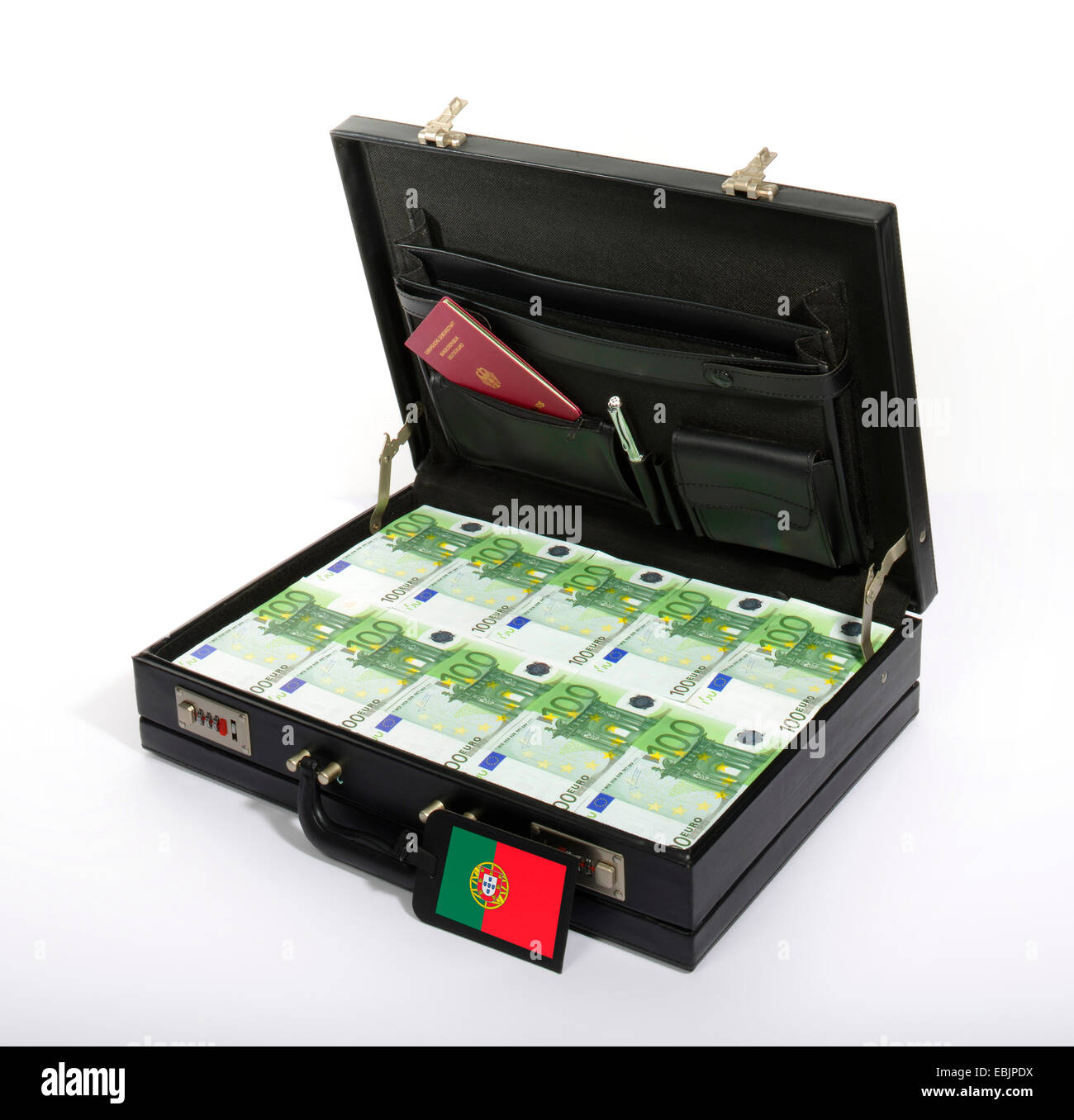 case with 100-Euro-bills, injection of capital for Portugal Stock Photo